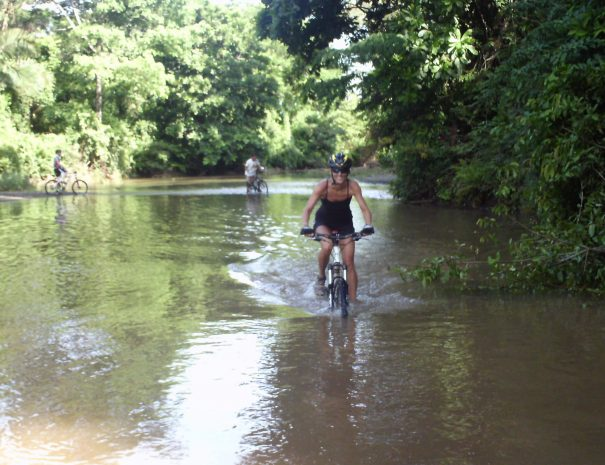 Crossing a river at bike tour
