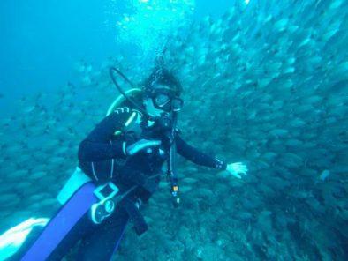 happy client at the diving tour