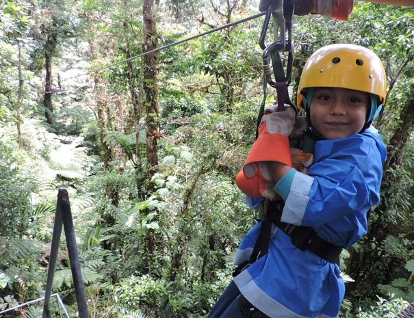 kid at zip line